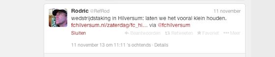 Het Twitter bericht is door Leerling inmiddels van zijn account verwijderd